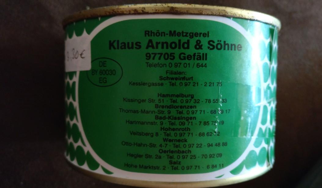 Ein Leckerbissen - auch für Preussen: Fränkischer Schwartenmagen aus der Metzgerei Klaus Arnold & Söhne im fränkischen Gefäll. Die 400 Gramm-Dose zu sehr bezahlbaren 3,30 Euronen.