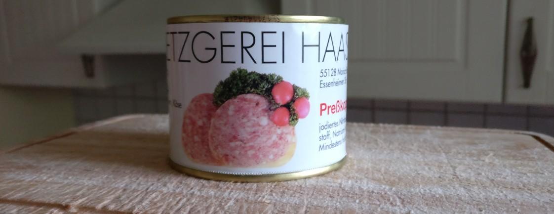 Der Mainzer Schwartenmagen / Presssack / Presskopf der Metzgerei Haas