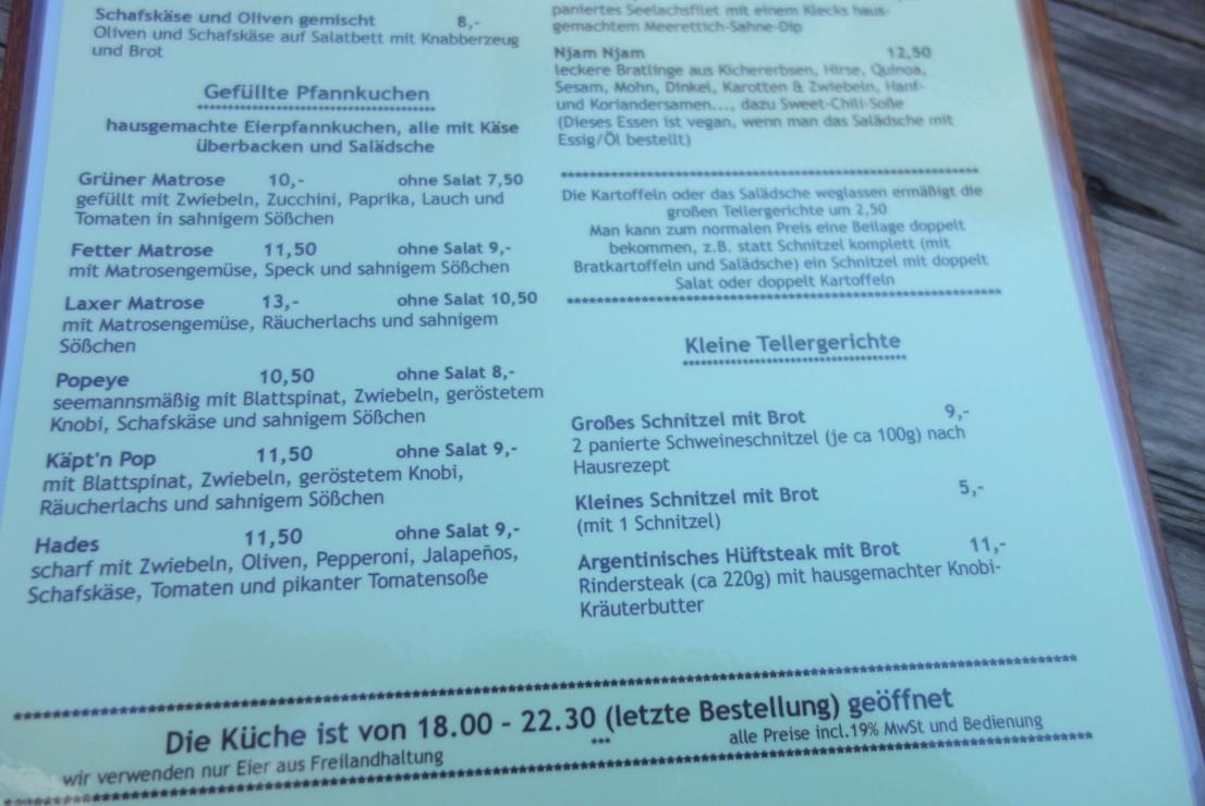 Die Speisekarte im Hafeneck Mainz ist ein halber Roman. Auch die gefüllten Pfannkuchen erfreuen sich großer Beliebtheit.